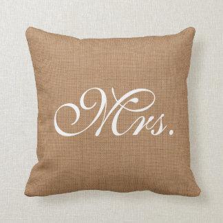 Señora Throw Cushion de la arpillera Cojin
