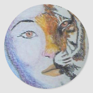 Señora Tiger - Raine Carosin.jpg Pegatina Redonda