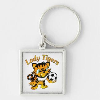 Señora Tigers Soccer Llavero Cuadrado Plateado
