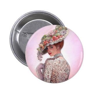 """Señora tímida """"Betty Lu """" del Victorian Pin Redondo 5 Cm"""