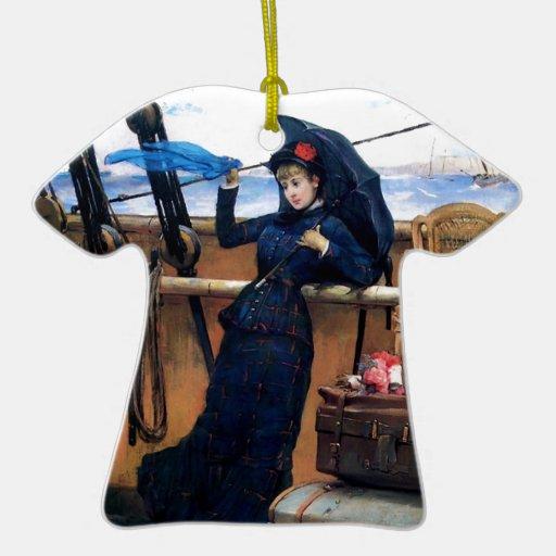 Señora Travelling por la pintura del mar Adorno Navideño De Cerámica En Forma De Playera