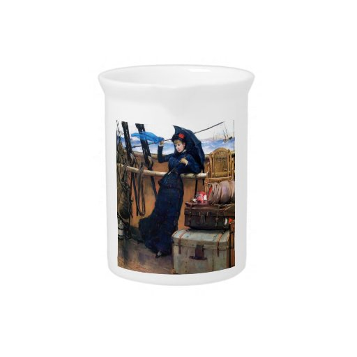 Señora Travelling por la pintura del mar Jarra De Beber