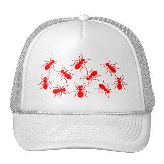 Señora Trucker Funny Hat con las hormigas rojas Gorros Bordados