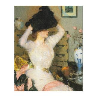Señora Trying en un gorra, por Frank W. Benson Impresiones En Lona Estiradas