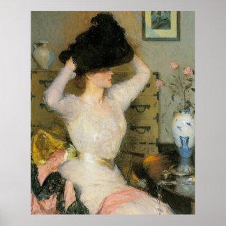 Señora Trying en un gorra, por Frank W. Benson Póster