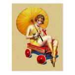 Señora Umbrella Wagon Bathing de la aleta de los a Postales