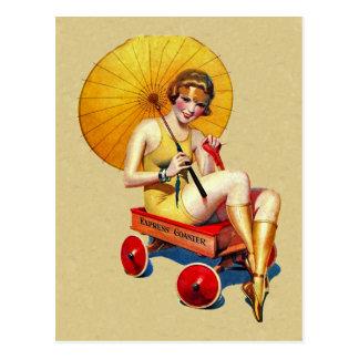 Señora Umbrella Wagon Bathing de la aleta de los Tarjetas Postales