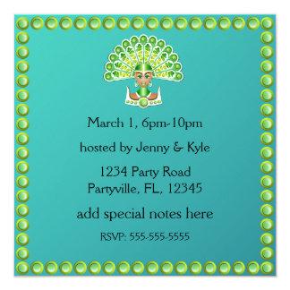 Señora verde Carnaval Invitations del pavo real Invitación 13,3 Cm X 13,3cm