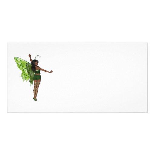 Señora verde Faerie 8 del ala - hada 3D - Tarjeta Con Foto Personalizada