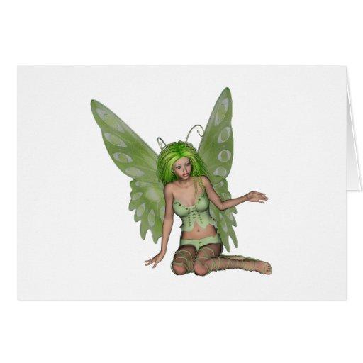 Señora verde Fairy 7 - arte de la fantasía 3D - Felicitación