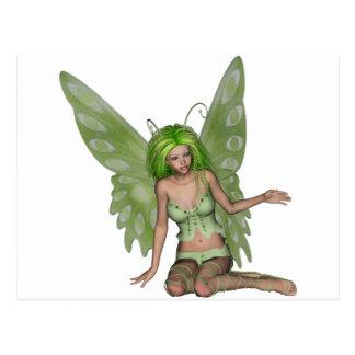 Señora verde Fairy 7 - arte de la fantasía 3D - Postal