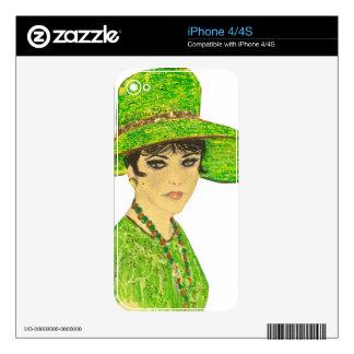Señora vibrante en verde calcomanías para iPhone 4