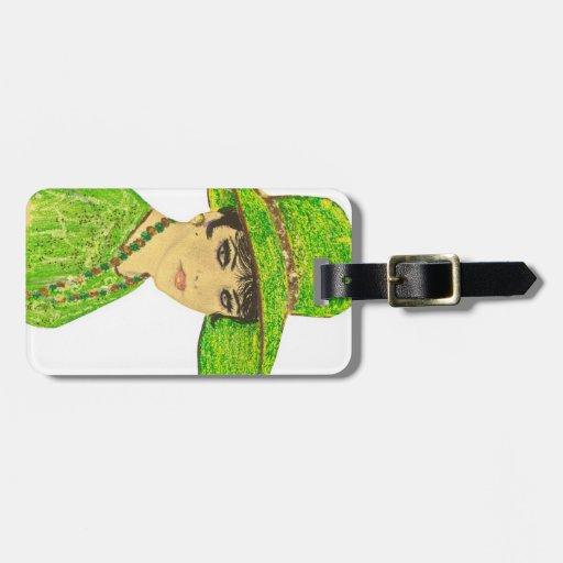 Señora vibrante en verde etiquetas para equipaje