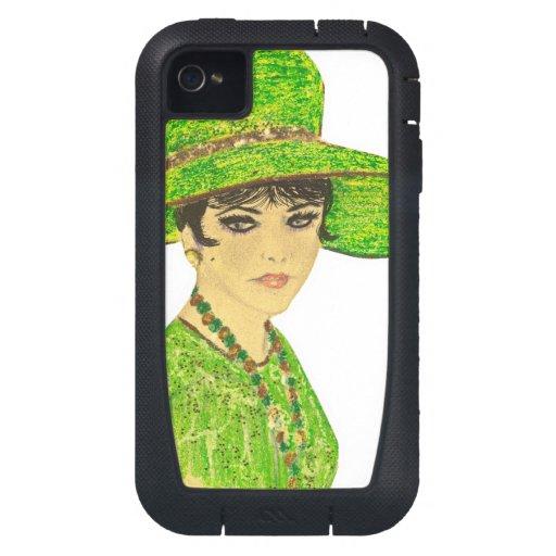 Señora vibrante en verde funda para iPhone 4