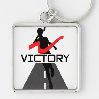 Señora Victory Runner Keychain Llavero Cuadrado Plateado