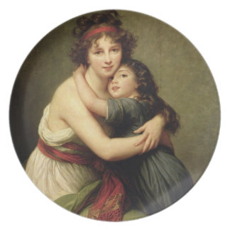 Señora Vigee-Lebrun y su hija Plato De Comida