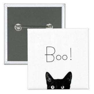 Señora Vintage Button del gato negro Pin Cuadrado
