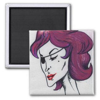 Señora violeta Original Art Magnet del pirata Imán Cuadrado