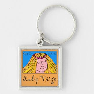 Señora Virgo Small Square Keychain Llavero Cuadrado Plateado