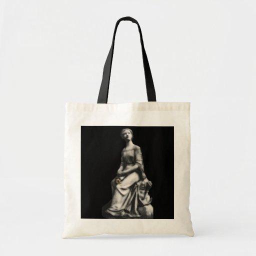 Señora w/book y bolso de la flor bolsa lienzo