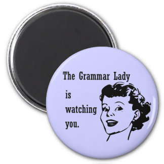 Señora Watching Magnets de la gramática Imán Redondo 5 Cm