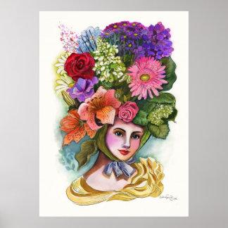Señora Watercolor Painting de la flor del Victoria Póster