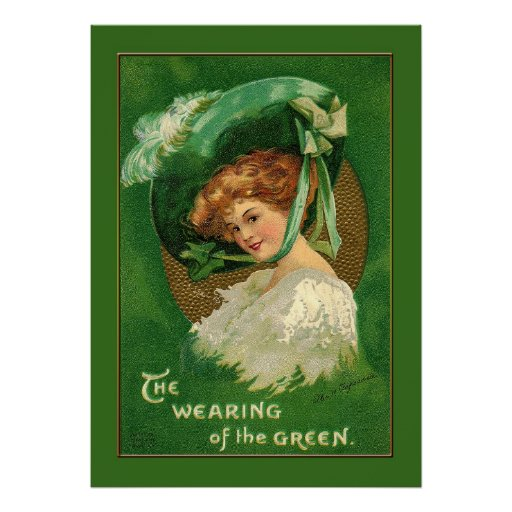 Señora Wears el verde para St Patrick Póster