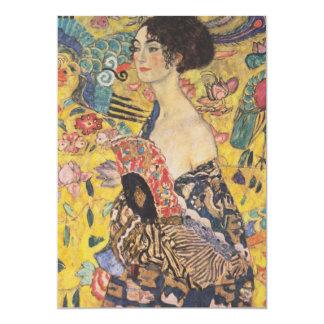 """Señora With Fan Invitations de Gustavo Klimt Invitación 5"""" X 7"""""""