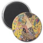 Señora With Fan Magnet de Gustavo Klimt Iman De Frigorífico