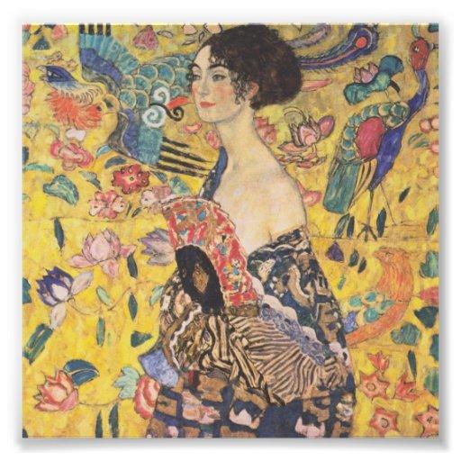 Señora With Fan Print de Gustavo Klimt Impresiones Fotograficas