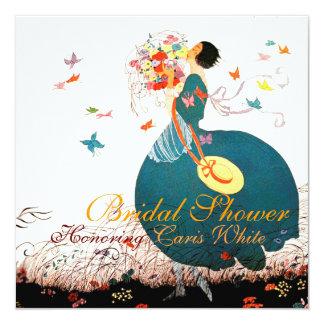 """SEÑORA WITH FLOWER BOUQUET Y MONOGRAMA DE LAS INVITACIÓN 5.25"""" X 5.25"""""""