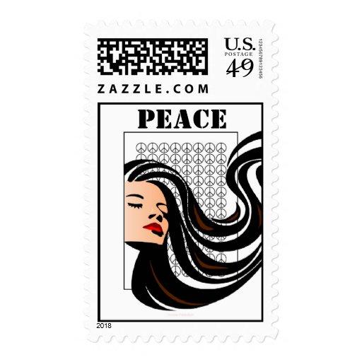 Señora With Flowing Hair y signos de la paz Envio