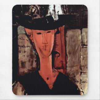 Señora With Hat de Amedeo Modigliani Alfombrillas De Ratones