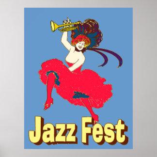 Señora With Horn del Fest del jazz Poster