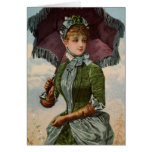 Señora With Parasol del Victorian del vintage Tarjeton
