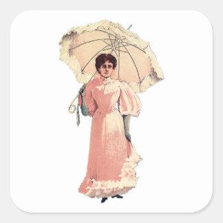 Señora With Parasol Pegatina Cuadrada
