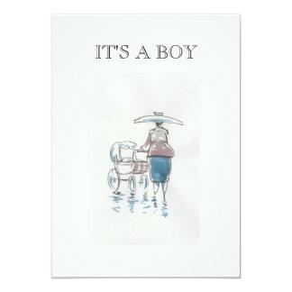 Señora With Pram It es una tarjeta del muchacho Invitación 12,7 X 17,8 Cm