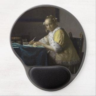 Señora Writing una letra de Juan Vermeer Alfombrilla De Ratón Con Gel