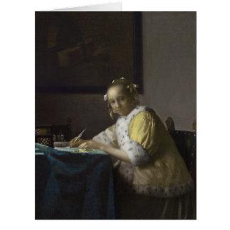 Señora Writing una letra de Juan Vermeer Felicitación