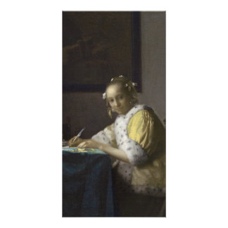 Señora Writing una letra de Juan Vermeer Tarjetas Fotograficas