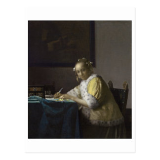 Señora Writing una letra de Juan Vermeer Tarjetas Postales