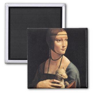 Señora y armiño imán cuadrado