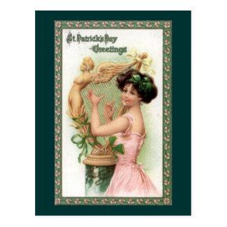 Señora y arpa del día de St Patrick del vintage Postal