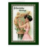 Señora y arpa del día de St Patrick del vintage Felicitaciones