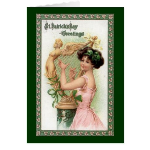 Señora y arpa del día de St Patrick del vintage Tarjeta De Felicitación