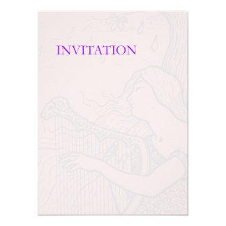 """Señora y arpa descoloradas invitación 5.5"""" x 7.5"""""""