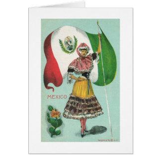 Señora y Bandera-Temprano mexicanas 1900's Tarjeta Pequeña
