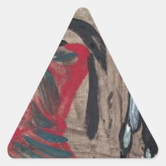 Señora y bestia pegatina triangular
