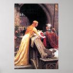 Señora y caballero medievales impresiones
