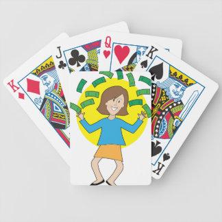 Señora y dinero felices baraja de cartas